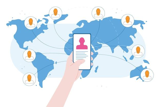 Telefon auf der karte hintergrund-world-wide-web-konzept