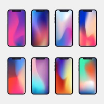 Telefon der neuen generation mit bunter abstrakter schirmsammlung