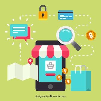 Telefon, einkaufssymbol und netzwerk mit flachem design