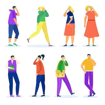 Telefon für mann frau, isoliert auf weißem set, vektor-illustration. menschen charaktergespräch am smartphone, fröhliches personengespräch am handy.