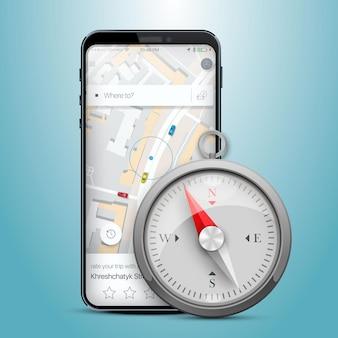 Telefon gps-navigationskarte kompass. vektor-illustration