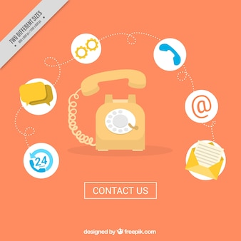 Telefon hintergrund mit kontakt icons