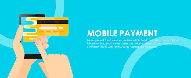 Telefon in den händen mit einer kreditkarte. online bezahlung vom handy aus.