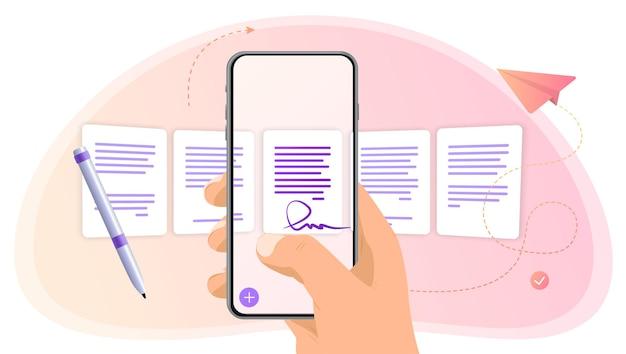 Telefon in der hand mit dateien scrollen sie eine datei auswählen dokumente auf ihrem telefon prozessklassifizierung