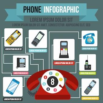 Telefon-infografiken im flachen stil für jedes design