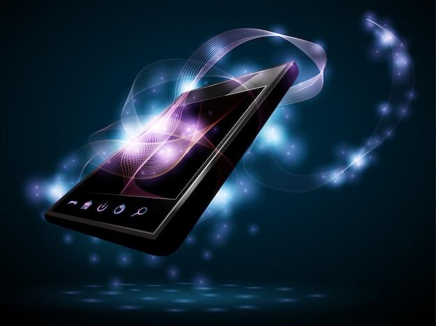 Telefon mit abstrakten wellen vom bildschirm