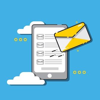 Telefon mit e-mail auf dem bildschirm. e-mail-konzept.