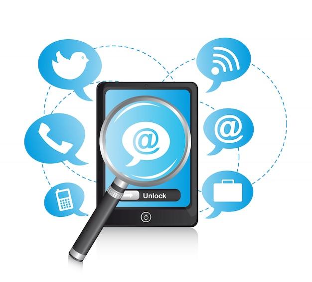 Telefon mit ikonen und lupenvektorillustration