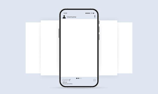 Telefon mit social-media-mockup-symbol. fotokarussell-vorlage. blogging-konzept. vektor-eps 10. getrennt auf weißem hintergrund.