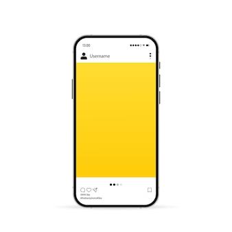 Telefon mit social-media-mockup-symbol. fotokarussell-vorlage. vektor-eps 10. getrennt auf weißem hintergrund.