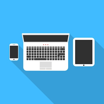 Telefon notebook und tablet mit langen schatten
