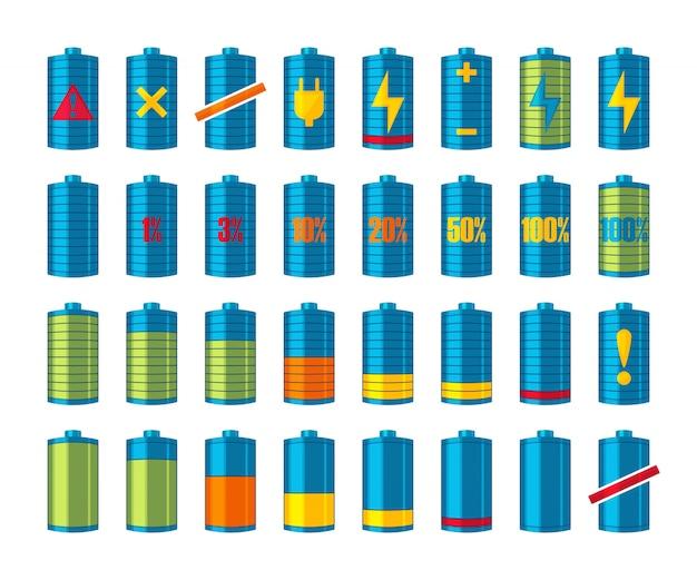 Telefon- oder smartphone-akkusymbole mit verschiedenen ladevorgängen von voll aufgeladen bis leer. auf dem weißen hintergrund. illustration.