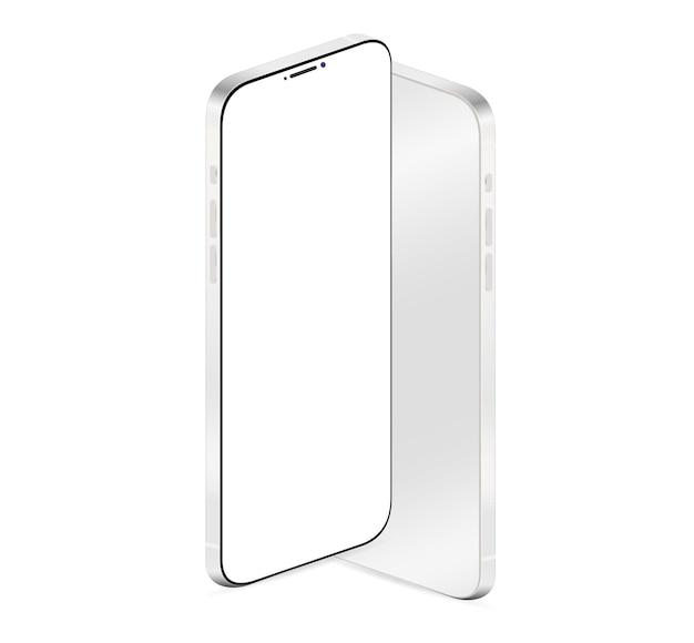 Telefon realistische vorder- und rückansicht mit leerem weißen bildschirm