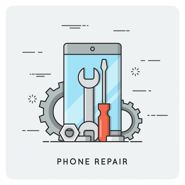 Telefon reparieren. flache dünne linie.