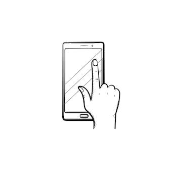 Telefon-touchscreen-handgezeichnete umriss-doodle-symbol. finger, der das touchpad des telefons mit buchbildvektorskizzenillustration für druck, handy und infografiken lokalisiert auf weißem hintergrund drückt.