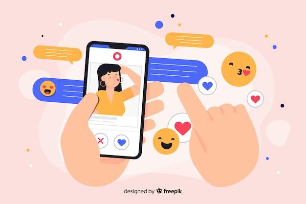 Telefon umgeben durch social media-ikonenkonzeptillustration
