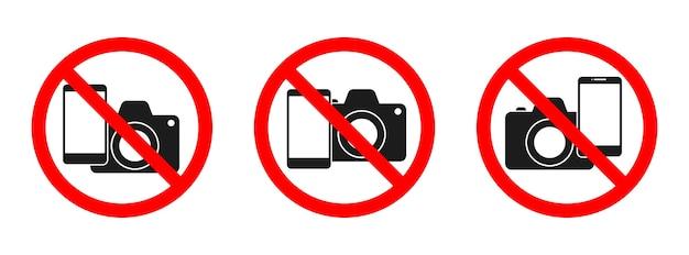 Telefon und kamera verboten zeichen. kein telefon, kein kamerazeichen auf weißem hintergrund. satz keine fotoschilder isoliert