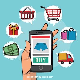 Telefon und shopping-elemente mit cartoon-stil