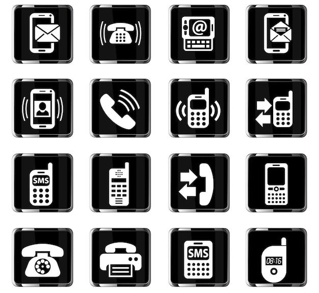 Telefon-websymbole für das design der benutzeroberfläche