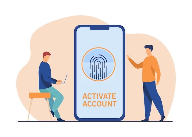 Telefonbenutzer, der konto mit fingerabdruck aktiviert. smartphone-bildschirm, biometrische identität