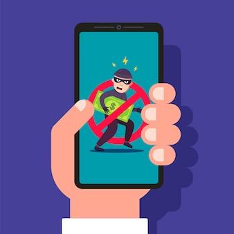 Telefonbetrug. schutz vor gelddiebstahl