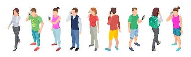 Telefonieren. isometrische personenkommunikation. männliche weibliche charaktere des vektors 3d mit smartphones lokalisiert auf weißem hintergrund