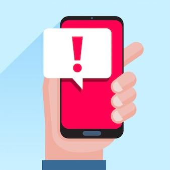 Telefonische benachrichtigungen, neue nachrichten empfangene konzepte. hand hält smartphone mit sprechblase und ausrufezeichen symbol
