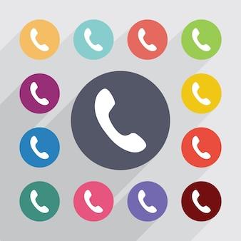 Telefonkreis, flache symbole gesetzt. runde bunte knöpfe. vektor