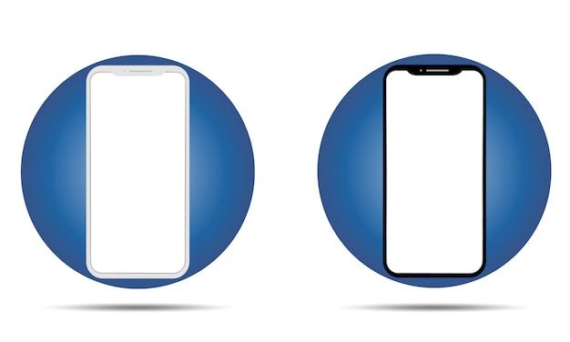 Telefonmodell mit weißem und schwarzem rahmen. smartphone-bildschirm auf blauem kreis