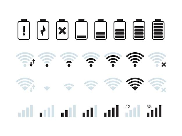 Telefonschnittstellenleiste. mobilfunk wlan 5g signal batterie status symbole sammlung.
