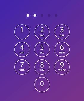 Telefontastatur. tastaturvorlage im touchscreen-gerät. benutzertastatur mit zahlen und buchstaben für das telefon. schnittstellentastatur für smartphone.