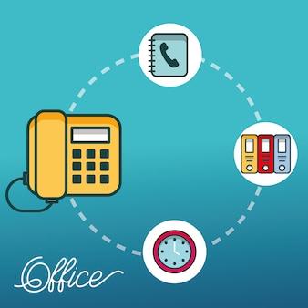 Telefonuhr mappen ordner büro