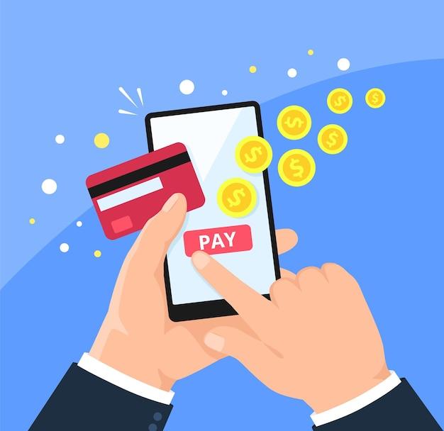 Telefonzahlung online bezahlen in der einkaufs-app checkout-seite smartphone mit kreditkarte mobile banking