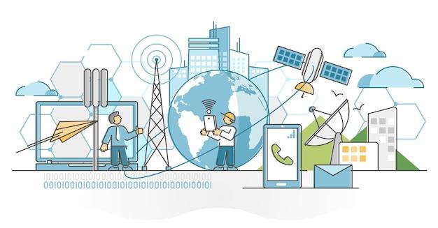 Telekommunikationsindustrie mit satellitendatensignalwellen-umrisskonzept. telefon- und internetkommunikationsverbindung mit antennennetz rund um den globus abbildung. mobilradartürme.