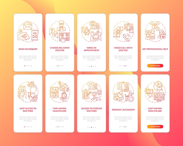 Telemedizin onboarding mobile app seite bildschirm