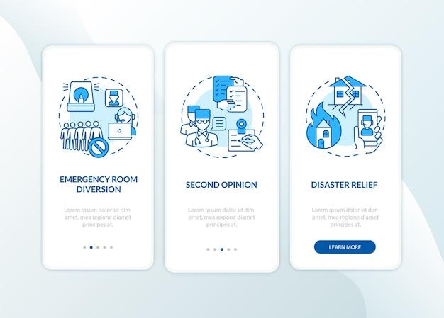 Telemedizinprofis integrieren den bildschirm der mobilen app-seite mit konzepten. exemplarische vorgehensweise für das remote-gesundheitssystem 3 schritte grafische anweisungen. ui-vorlage mit rgb-farbe