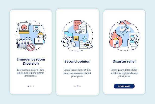 Telemedizinprofis integrieren den bildschirm der mobilen app-seite mit konzepten