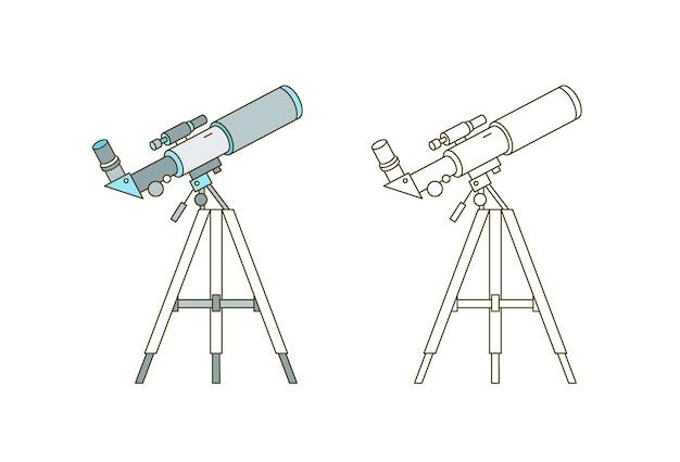 Teleskop auf dem linearen vektorsymbol des stativs. astronomeninstrument, wissenschaftliche ausrüstung, weltraumbeobachtungswerkzeug-umrissillustration. astronomie-symbol. sternwarte, planetariums-logo-design-element.