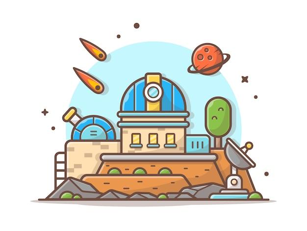 Teleskop des astronomischen observatoriums mit planeten-und meteoriten-raum-vektor-illustration