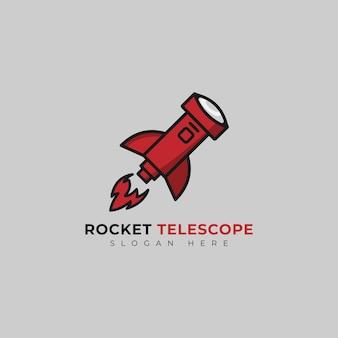 Teleskop-logo mit raketendesign-vorlage