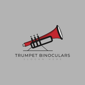 Teleskop-logo mit trompete für musikfirma und markenlogo