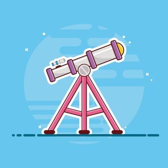 Teleskopsymbol. teleskop, planet, sterne und erde, raumikone weiß isoliert