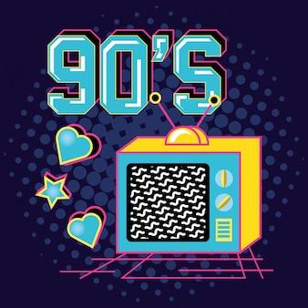 Televisor der neunziger jahre retro