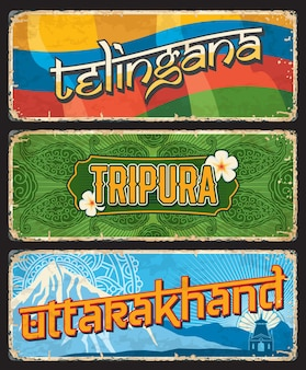 Telingana, tripura und uttarakhand indianerstaaten vintage teller oder banner mit flagge, ornament und berggipfel. vektor gealterte schilder, reiseziel-wahrzeichen von indien. abgenutzte retro-grunge-plaketten