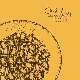 Teller mit farfalle italienischen teigwaren gezeichnet