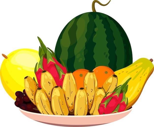 Teller mit früchten zum feiern des vietnamesischen neujahrsfests