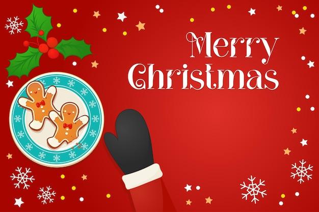 Teller mit lebkuchen und mistel und handbeschriftung zitieren frohe weihnachten. weihnachtsmann-hand im fäustling. draufsichtvektorillustration für neues jahr- und winterferiendesign.