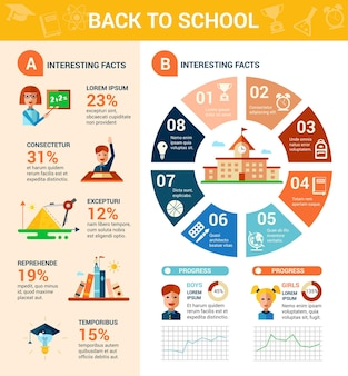Tempalte infografiken für den schulanfang