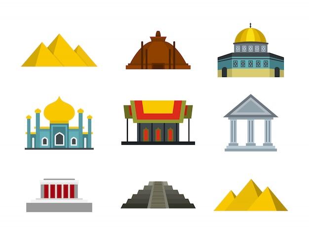 Tempel-icon-set. flacher satz der tempelvektor-ikonensammlung lokalisiert