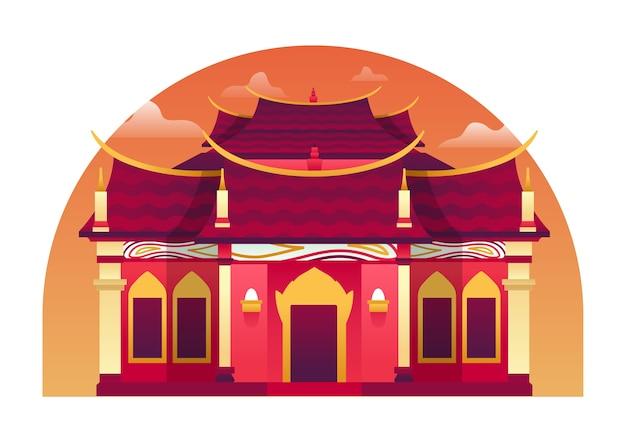 Tempelillustration, ein ort der kultur, an dem normalerweise hindu und buddhismus beten. diese abbildung kann für website, zielseite, web, app und banner verwendet werden.